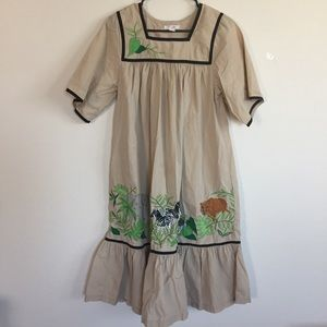Go Softly Animal Embroidered Patio Dress S